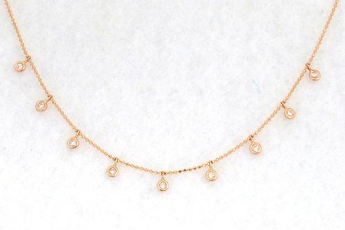 DIAMOND NECKLACE WITH SET DIAMONDS DANGLES