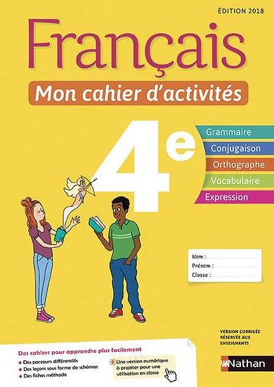 Français ; 4e ; mon cahier d'activités (édition 2018)