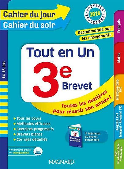 Cahiers du jour/ soir ; tout en un ; 3e ; 14-15 ans (nouveaux programmes 2016)