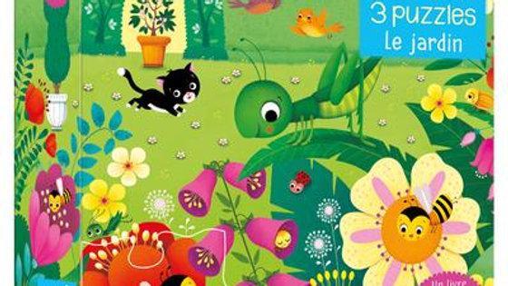 Le jardin ; mon petit coffret livre et 3 puzzles