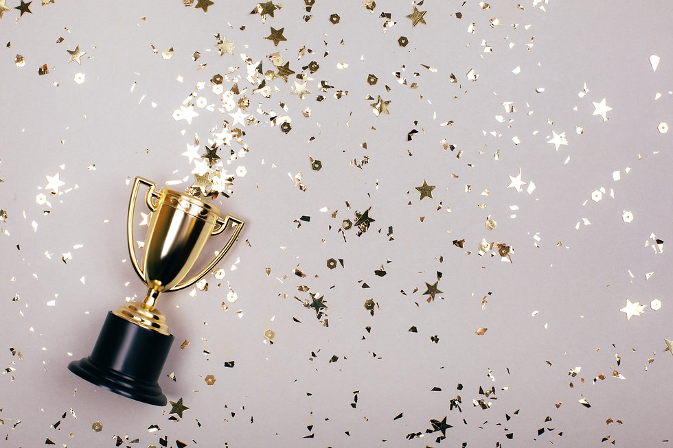 Sparkles grey background with a winners