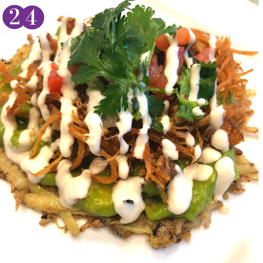 Whole30 Day Twenty-Four:  Sweet Potato Taco Shells with Carnitas, Guacamole, Salsa & Cilantro
