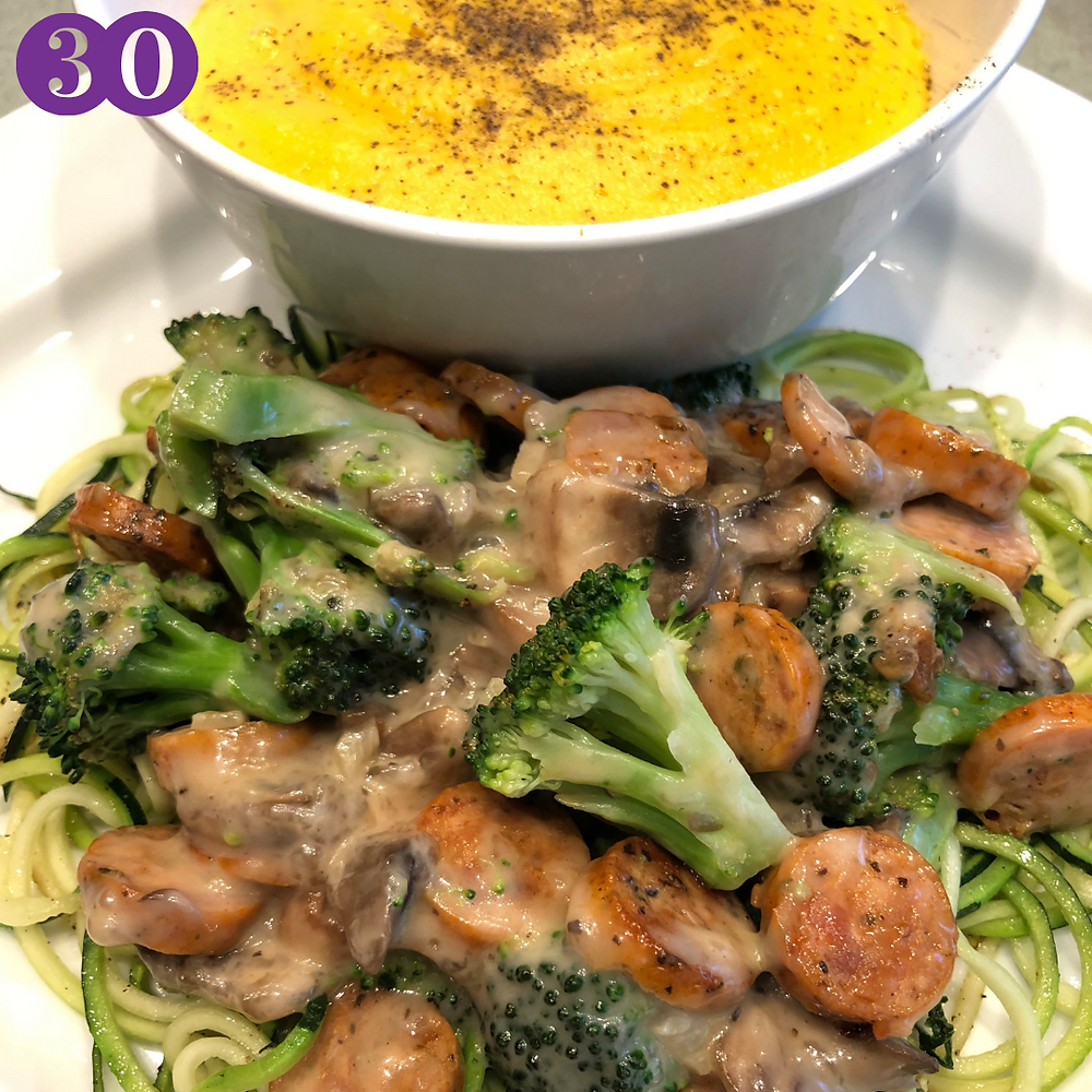 Whole30 Day Thirty:  Creamy Garlic Sauce with Chicken Sausage, Mushrooms and Broccoli over Zoodles served with Butternut Squash Soup