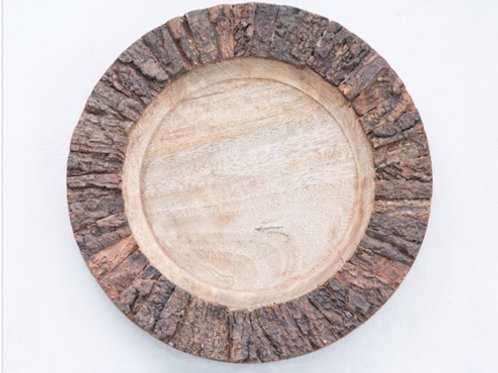 """14"""" Round Wood Bark Charger"""