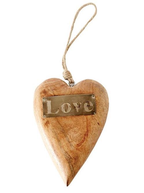 "Mango Wood Hanging Heart w/ Metal ""Love"""