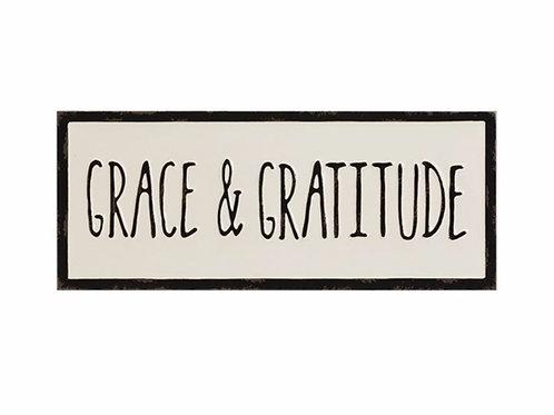 """Embossed Enameled Wall Decor """"Grace & Gratitude"""""""