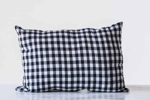 Cotton Blend Pillow, Black & White Gingham