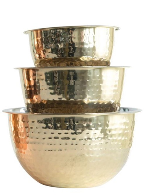 Hammered Stainless Steel Bowls w/ Gold Finish