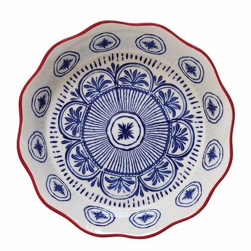 Hand-Stamped Stoneware Pie Dish, Blue & Red $19.99