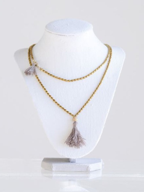 Metal Wren Necklace w/ Tassel