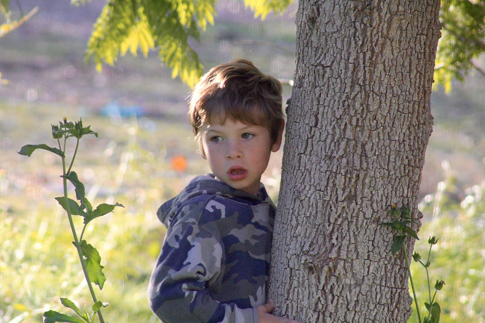 pic of Jeremy leaning against a tree, age 6