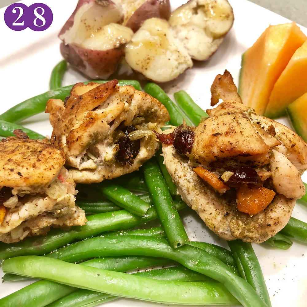 Whole30 Day Twenty-Eight:  Stuffed Chicken Tenderloins with W30 gravy, green beans, red potatoes and chunks of cantaloupe
