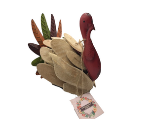 Wooden and metal turkey decoration