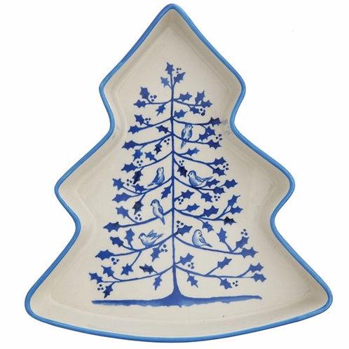 Stoneware Tree Dish, Blue & White