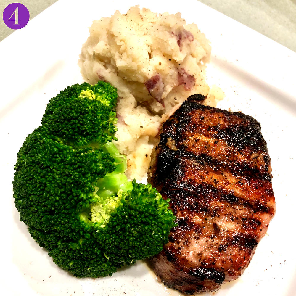 Whole30 Day Four: BBQ Pork with Steamed Broccoli & Red Mashed Potatoes