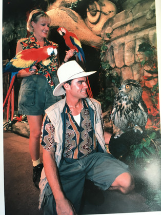 Scarlet Macaws and Owl.JPG