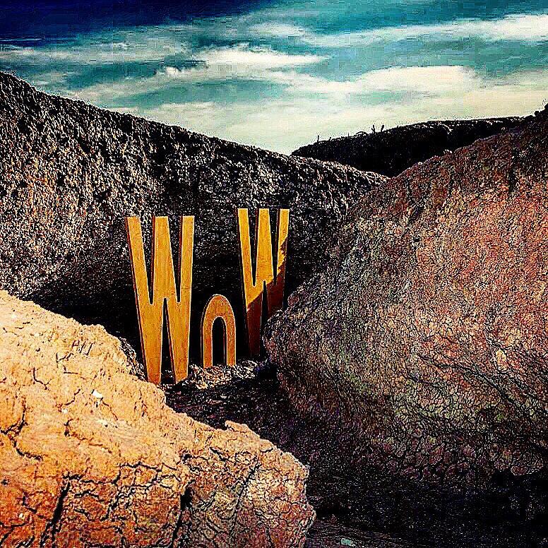 wow, sculpture, sculpturaltext, desert, rocks, bombay beach, salton sea, california