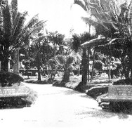 Foto da antiga Praça da República mostrando seu jardim e os bancos com o nome dos patrocinadores Casa Ferreira e Panificação e Confeitaria dos Irmãos Pellizzon - 1948.