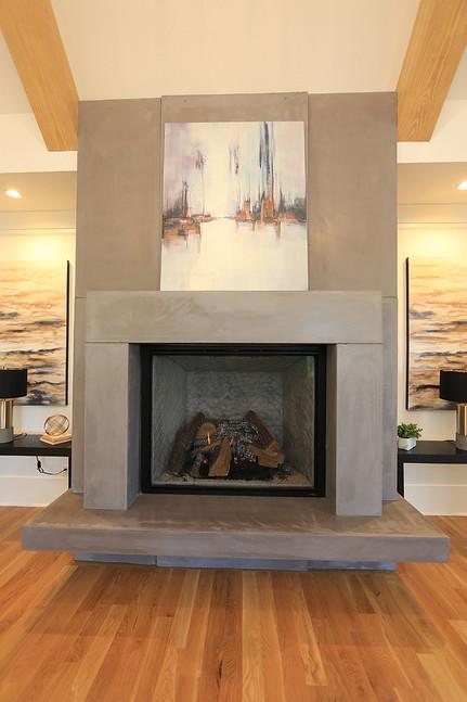 Custom designed cast stone fireplace