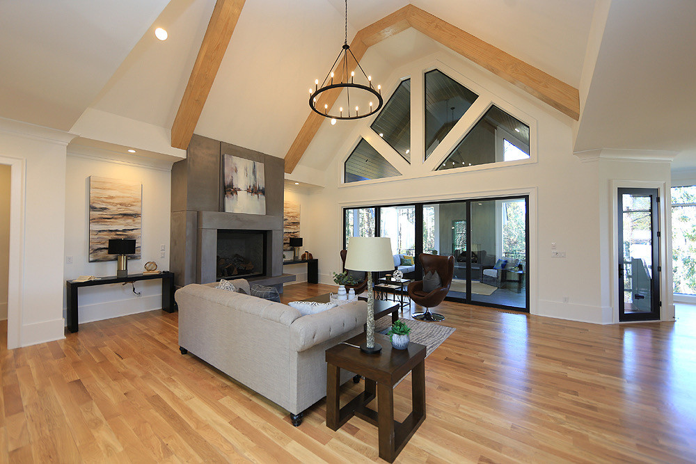 Open main floor with fantastic beams and porch