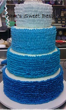 Wedding Cake: Blue Omgre ruffle cake