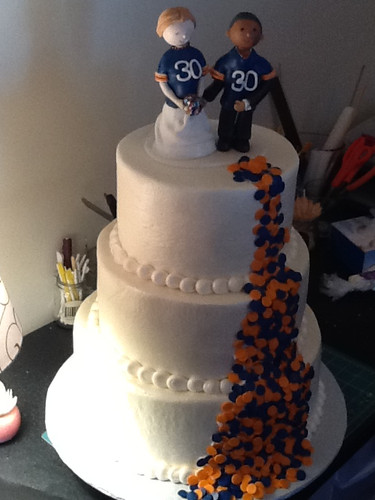 Wedding Cake: Bears theme with Bride and Groom wearing Bears Jersey