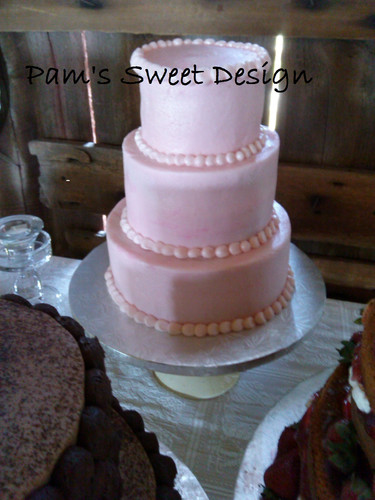 Wedding Cake: Strawberry pink simple