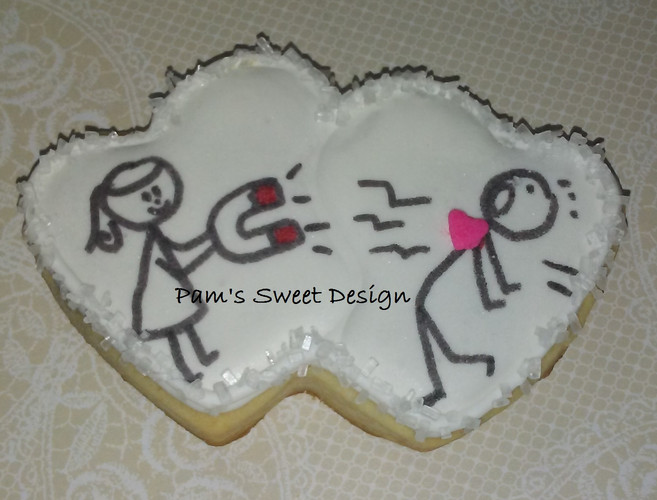 Valentine Stick People Magnetic Heart Decorated Cookie