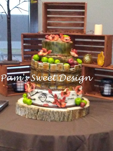 Wedding Cake: Tree Stump and Apple basket, All edible except the apples