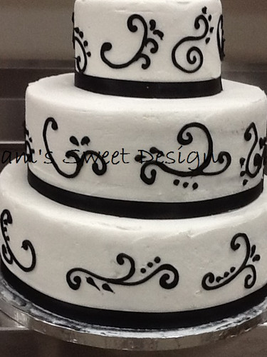 Wedding Cake: White with black swirls and black ribbon