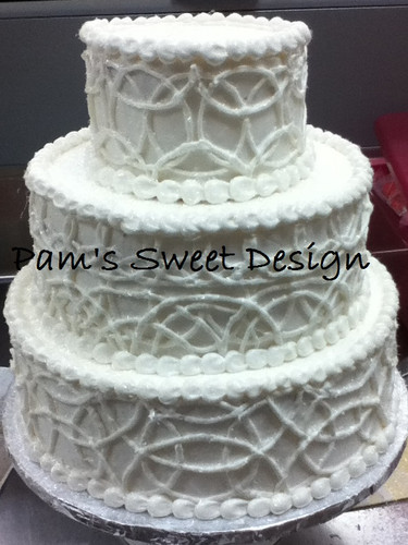 Wedding Cake: White with white circles