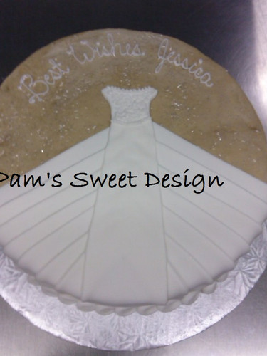 Wedding Cake: Wedding Dress Tan background