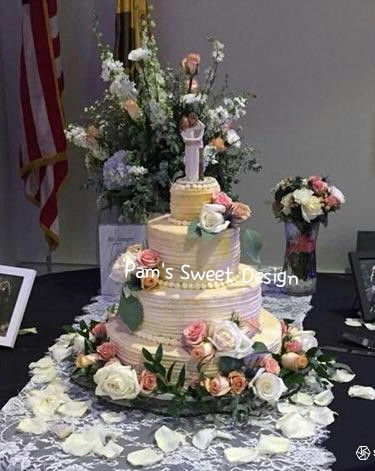 Wedding Cake,:Gruved side, Creamy Peach with Fresh Flowers