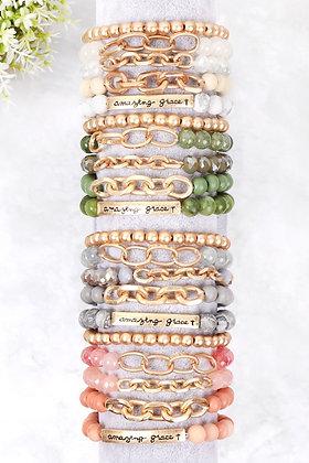 "Hdb2995 - ""Amazing Grace"" Charm Multiline Beaded Bracelet"