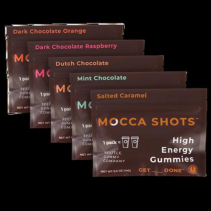 Mocca Shots Chocolate Caffeine Gummy Variety Box 12-Pack 12x2 Shots 200mg