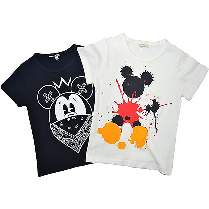 Boys Girls Summer T Shirts Splash Meuse Print Children Tops Cotton Shirts
