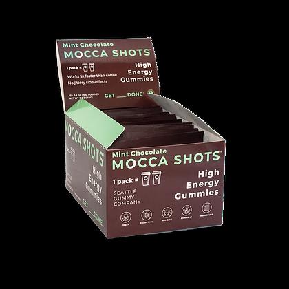 Mocca Shots Mint Chocolate Caffeine Gummy12 Packs 12x2 Shots 200mg Caffeine/Pack