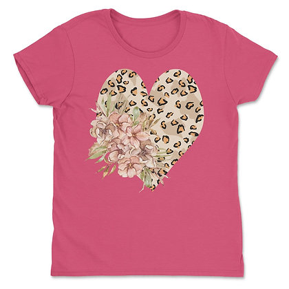 Valentines Day Leopard Heart Flower Shirt Love Tee Gift for Her
