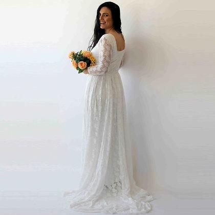 Curve & Plus Size Ivory Square Neckline Vintage Inspired Wedding Dress