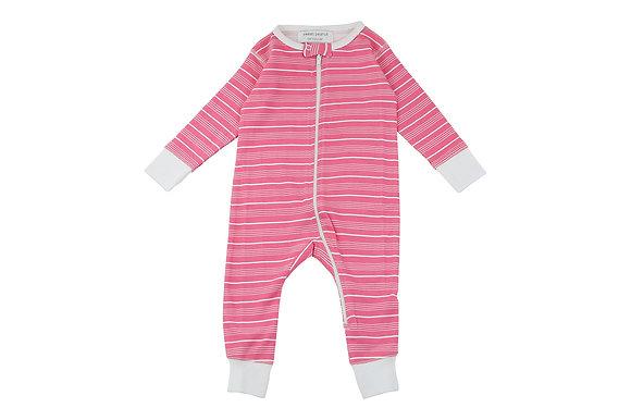 Long Romper in Pink Stripes