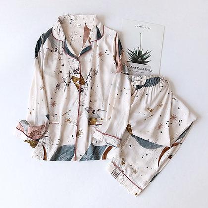Spring / Summer 2020 New 100% Viscose Long-Sleeved Trousers Ladies Pajamas Suit