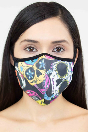 Colored Skull Print Face Mask