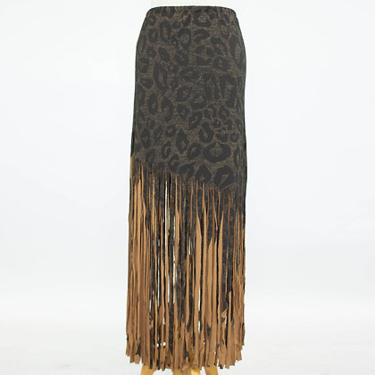 Animal Print Skirt With Fringe - Mocha