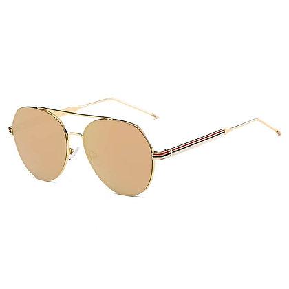 Modern Teardrop Aviator Flat Mirrored Flat Lens Sunglasses