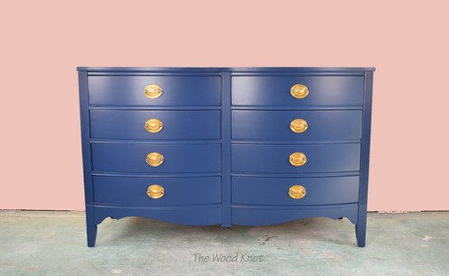 Refinished In Flat Lacquer Color Name In The Navy By Sherwin Williams.  Original Handles Were Polished To Bring Its Natural Gold Color.