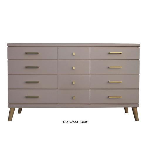 Mid Century Modern Pink and Gold Dresser