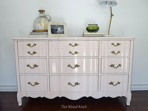 French Provincial Huntley Glossy Pink Lacquer Dresser