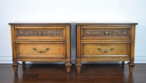 Mid Century Wood Carved Side Tables – A Pair