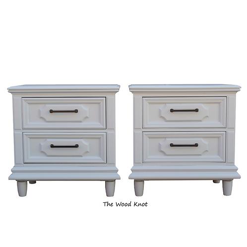 Satin Light Blue Side Tables, A Pair