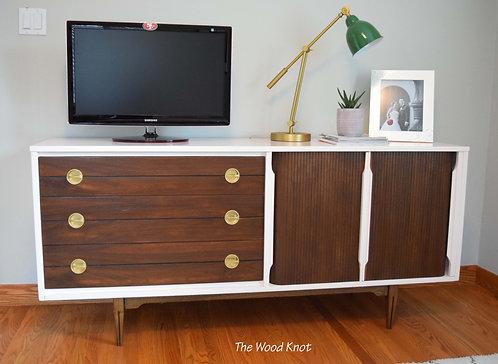 Mid Century Modern Pink and Walnut Dresser